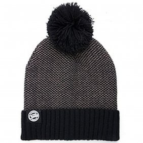 Fox Chunk Grey Black Bobble Hat