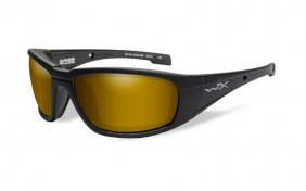 Wiley X Boss Polarized Amber Gold Mirror Mate Black Frame