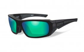 Wiley X Enzo Polarized Emerald Mirror Matte Black Frame