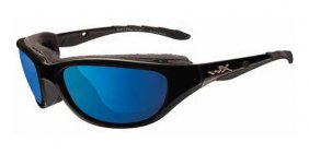 Wiley X Airrage Polarized Blue Mirror Gloss Black Frame